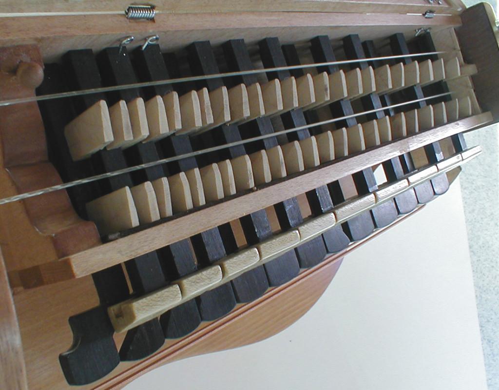 """Le clavier. Les touches noires pour les notes """"diatoniques"""" les blanches pour les altérations. 2 sautereaux sur chaque touches"""